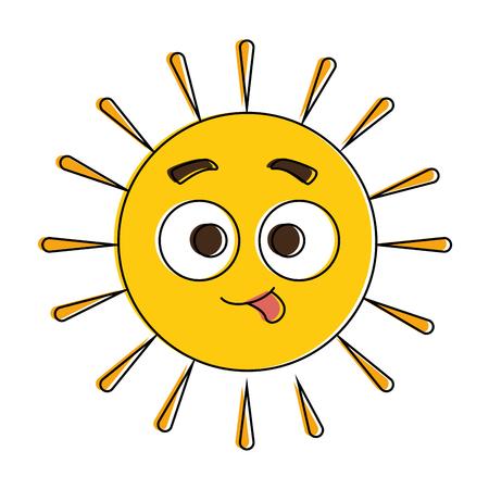 summer sun crazy kawaii character vector illustration design Illustration