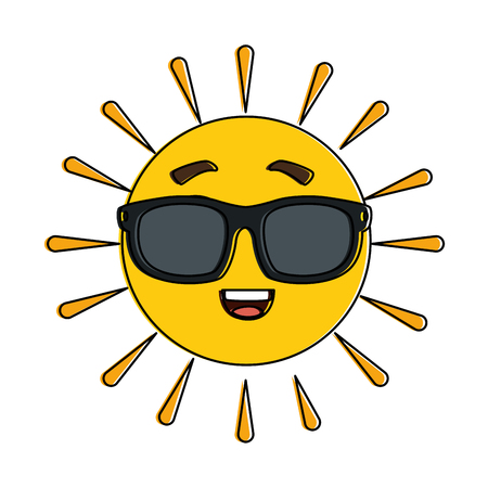 Summer sun happy with sunglasses character vector illustration design