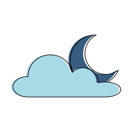 Weather cloud with moon vector illustration design