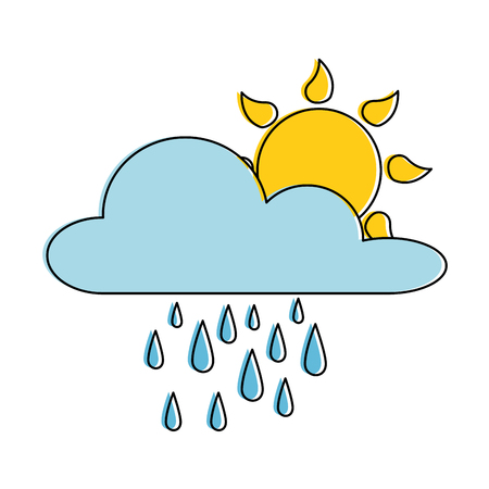 Weather cloud with rain and sun vector illustration design