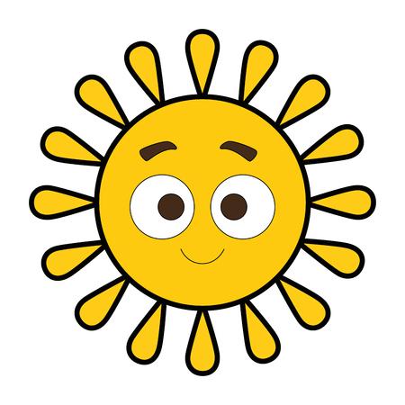 夏の太陽ハッピー漫画キャラクターベクトルイラストデザイン