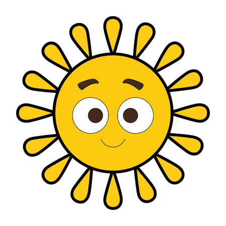 Summer sun happy cartoon character vector illustration design Ilustrace