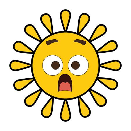 Summer sun terrified character vector illustration design