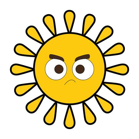 夏の太陽怒りキャラクターベクトルイラストデザイン