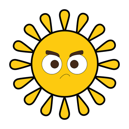 Summer sun angry character vector illustration design Ilustrace