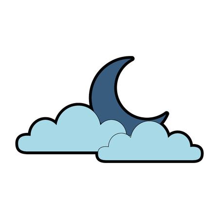 달 벡터 일러스트 레이션 디자인과 날씨 구름