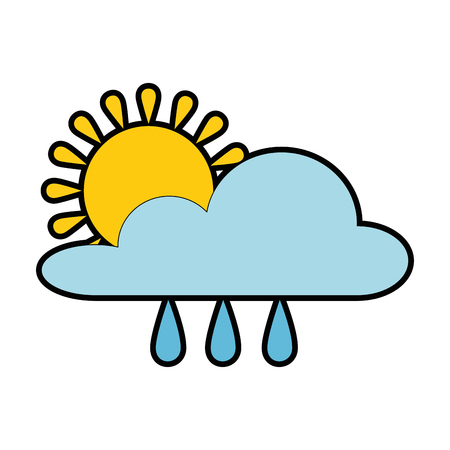 Weather cloud rainy with sun vector illustration design Illustration