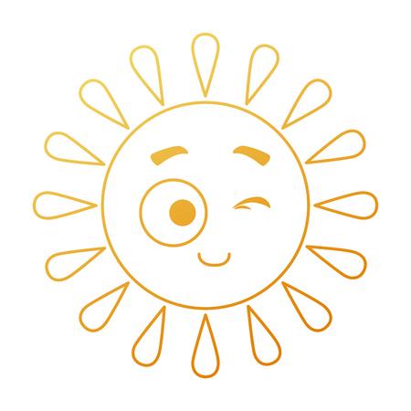 Summer sun accomplice character vector illustration design.