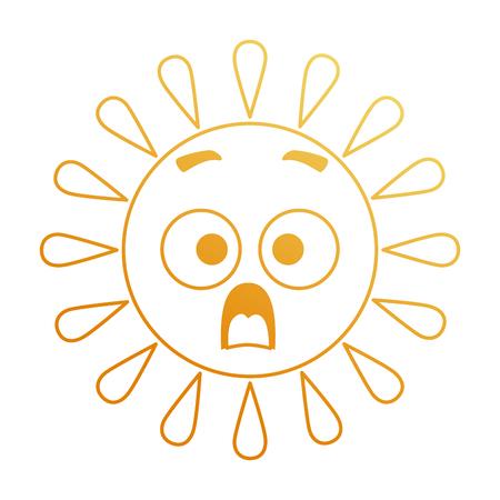 Summer sun terrified character vector illustration design.