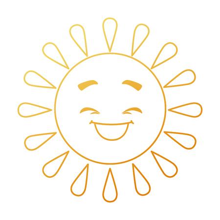 summer sun happy kawaii character vector illustration design