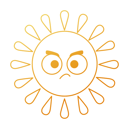 Summer sun angry character vector illustration design Illustration