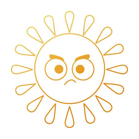 Summer sun angry character vector illustration design Ilustração