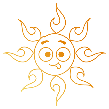 Summer sun crazy character vector illustration design Illustration