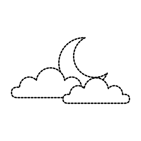 Weather cloud with moon vector illustration design.