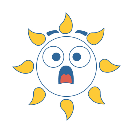 summer sun terrified kawaii character vector illustration design