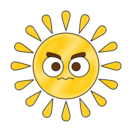 Summer sun angry character vector illustration design.