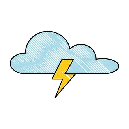 雷線イラストデザインの天気雲。