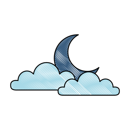 Weather cloud with moon illustration design. Illustration