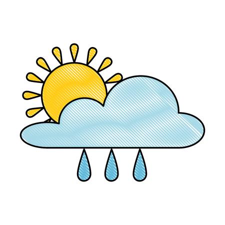 Weather rainy cloud with sun illustration design.