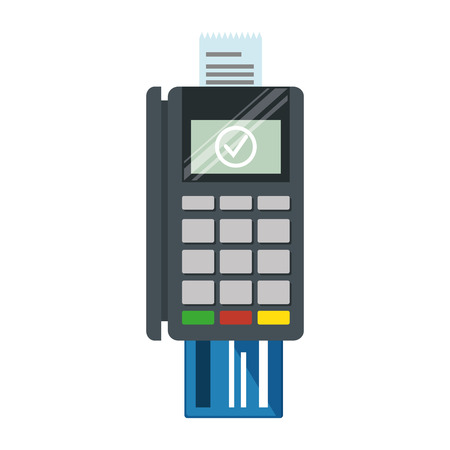 Credit card machine reader illustration.