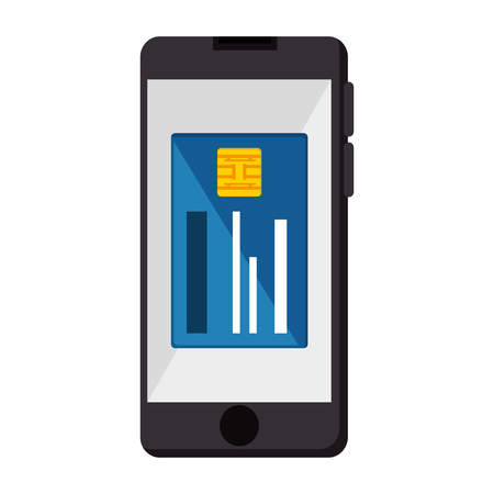 Phone device with credit card illustration design.