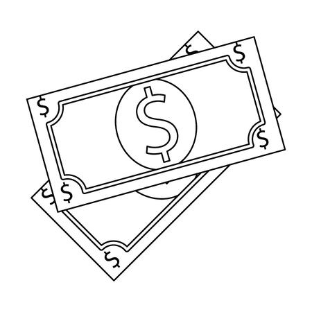 rekeningen dollars geïsoleerd pictogram vectorillustratieontwerp