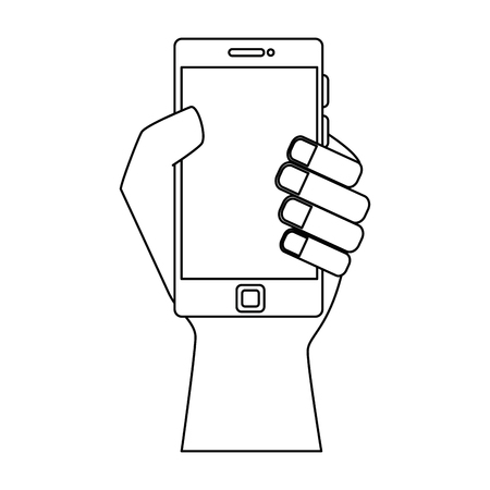 smartphone device with hand human vector illustration design