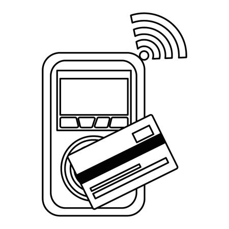 Voucher machine with credit card vector illustration design