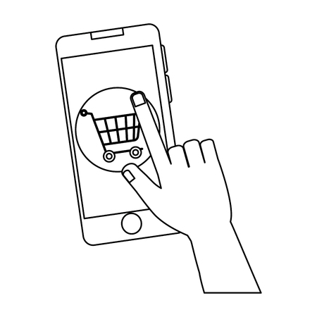 Phone device with shopping cart illustration design.