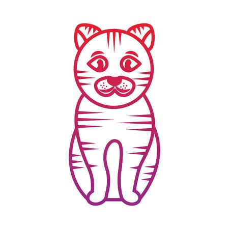 스트라이프 고양이 만화 애완 동물 아이콘 이미지 벡터 일러스트 레이 션 디자인 일러스트
