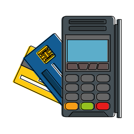 Voucher machine with credit card illustration design.