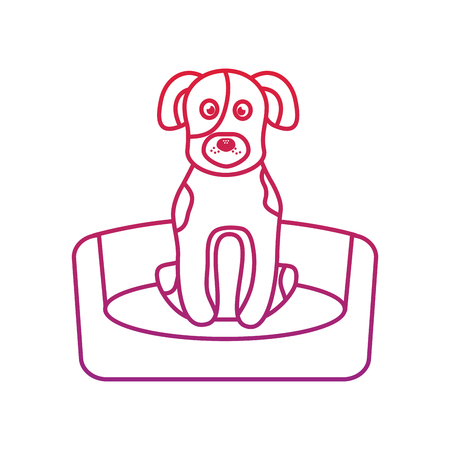 ベッドの上の犬や子犬ペットアイコン画像ベクトルイラストデザイン 写真素材 - 92412677