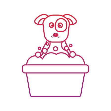 개 또는 강아지 욕조 애완 동물 아이콘 이미지 벡터 일러스트 레이 션 디자인 일러스트