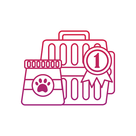Pet transporter award ribbon food icon image vector illustration design