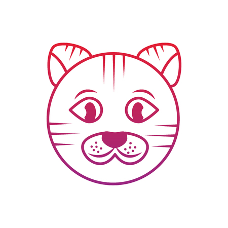 Cat face cartoon pet icon image vector illustration design