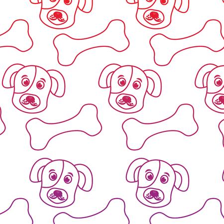 강아지와 뼈 애완 동물 패턴 이미지 벡터 일러스트 디자인 일러스트