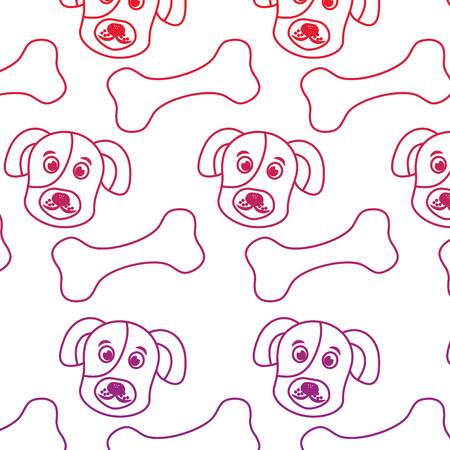 Dog and bone pet pattern image vector illustration design