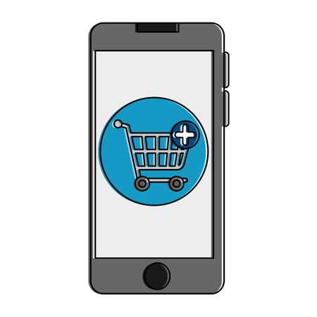 Smartphone device with shopping cart illustration design.