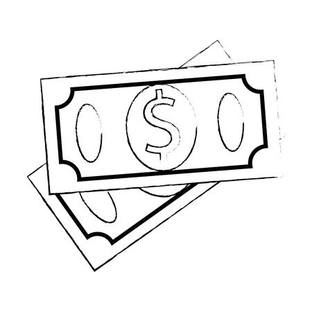 Rekeningen van het dollars geïsoleerde ontwerp van de pictogram vectorillustratie Stock Illustratie