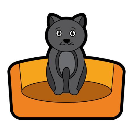 Cat on bed cartoon pet icon image vector illustration design