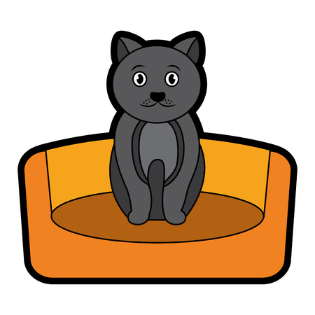 Cat on bed cartoon pet icon image vector illustration design