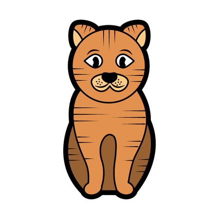Striped cat cartoon pet icon image vector illustration design Illustration