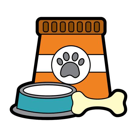 Food bowl and bone pet icon image vector illustration design. Çizim