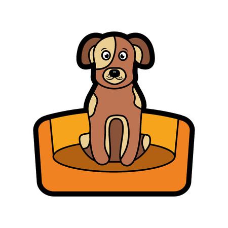 강아지 또는 강아지 침대에 애완 동물 아이콘 이미지 벡터 일러스트 디자인