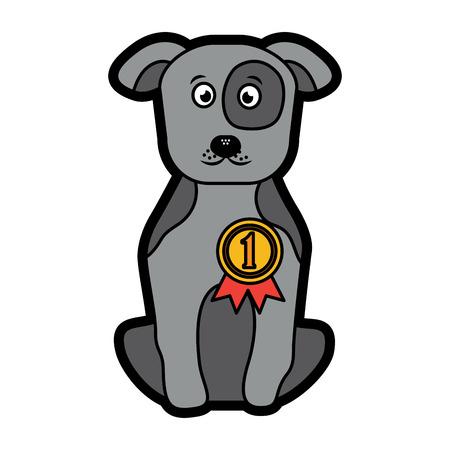 강아지 또는 강아지 리본 메뉴 애완 동물 아이콘 이미지 벡터 일러스트 디자인
