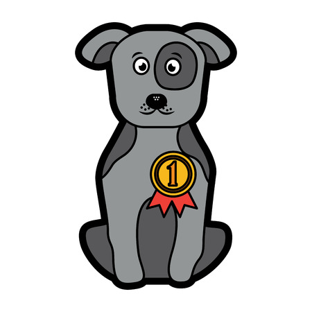 dog or puppy with award ribbon pet icon image vector illustration design