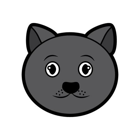 고양이 얼굴 만화 애완 동물 아이콘 이미지 벡터 일러스트 디자인