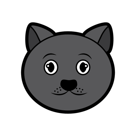 cat face cartoon pet icon image vector illustration design  Ilustração