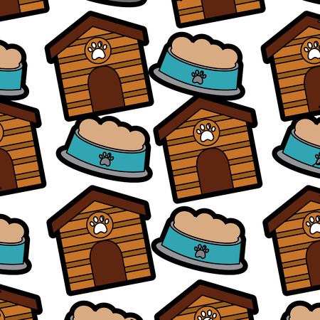 Pet house and food bowl in seamless pattern.  vector illustration design