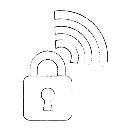 padlock with wifi signal vector illustration design Illustration